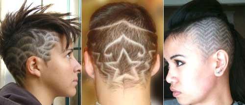 Выбривание рисунков на голове - фото