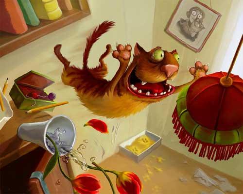 Смешные кошки - рисованные картинки